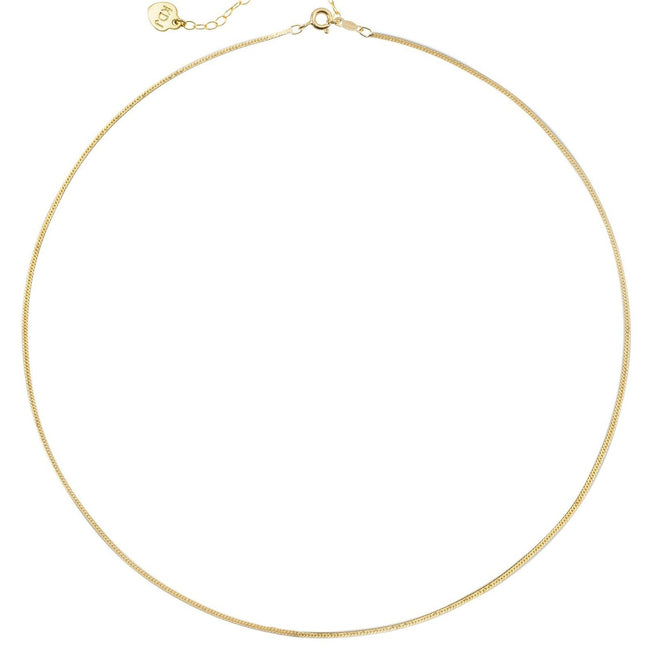 14k gold filled Herringbone Chain Necklace shown on a white background