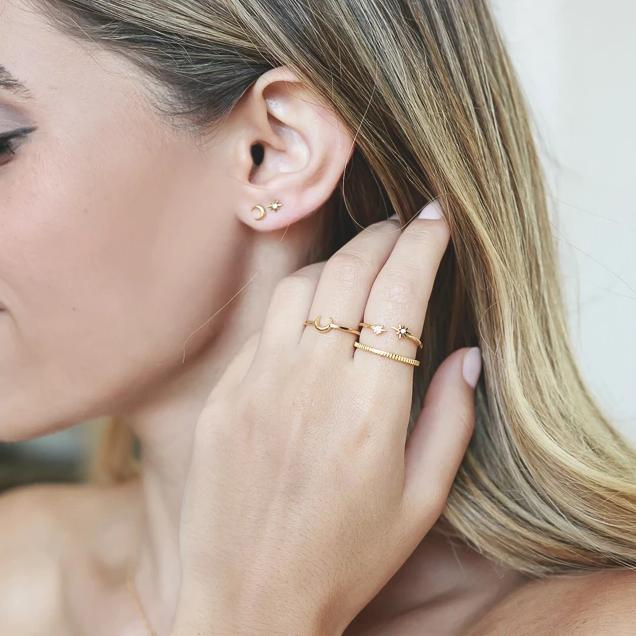 Up close image of Katie Dean model wearing the gold Moon Ring.