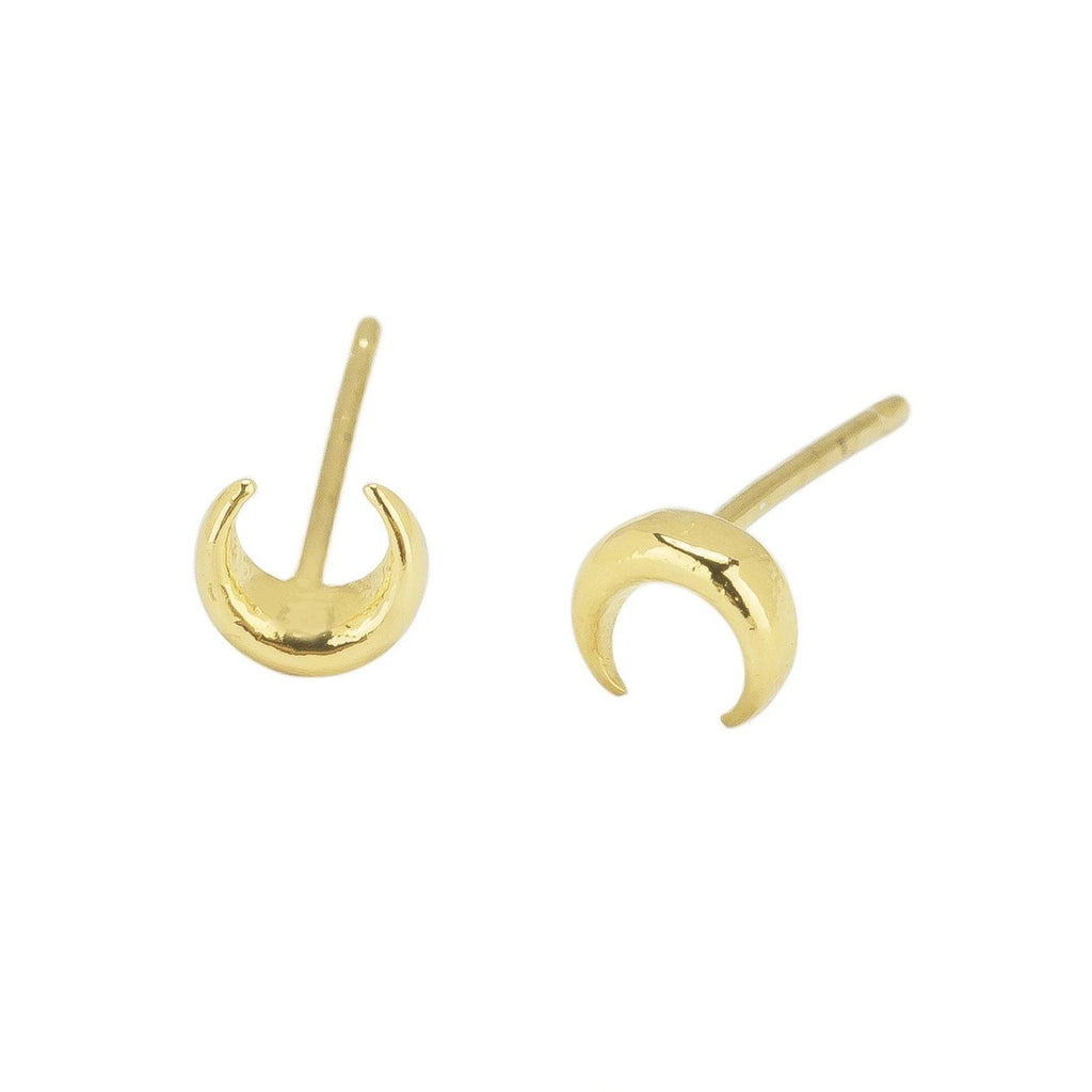 Up close image of the gold Moon Studs in the shape of a half moon.