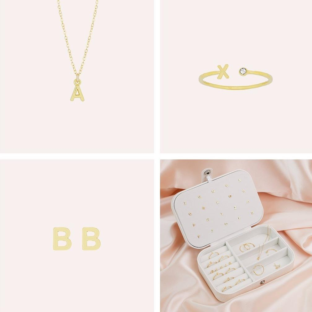 A square image split into four sections, showing the Initial Necklace, Initial Ring and Initial Earrings as well as a white jewelry case with the Initial Collection inside of it. By Katie Dean Jewelry