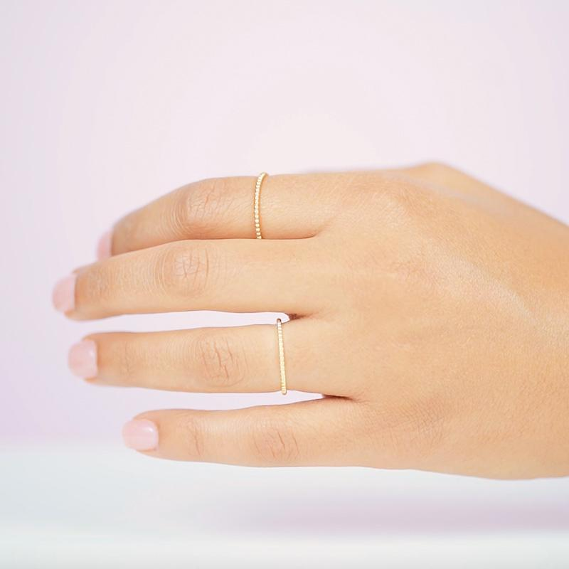 Call the search parties off, the Beaded Ring is the perfect stacking ring! Handmade in California by Katie Dean Jewelry.
