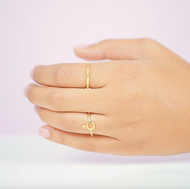 Wear it loud and proud. The Female Symbol Ring was inspired by all the support and help that Katie has received from the leading ladies in her life. When you wear this ring, we hope you feel empowered and ready to be the lady boss that you are.  Handmade in California by Katie Dean Jewelry.