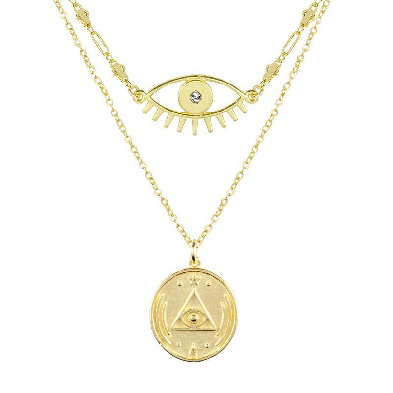 Good vibes all around with the Evil Eye Necklace and All Seeing Eye Necklace Set. Give the gift of good luck and fortune to yourself or to that special someone.  Handmade in California by Katie Dean Jewelry.