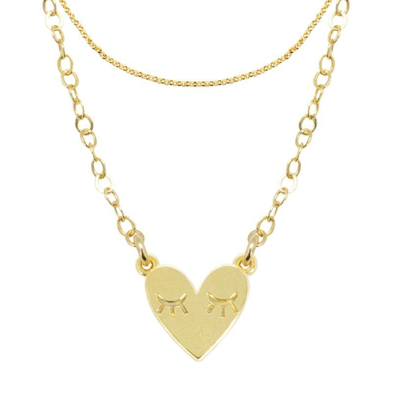 Katie-dean-jewelry-dainty-handmade-lovers-necklace-set-Gold-Rolo-Choker-Heart-Necklace