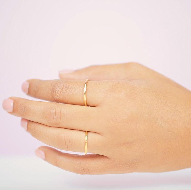 The Hammered Band Rings are clean cut with a little edge that's all in the detail! Say hello to the perfect stacking ring, a great addition to your daily ring stack.