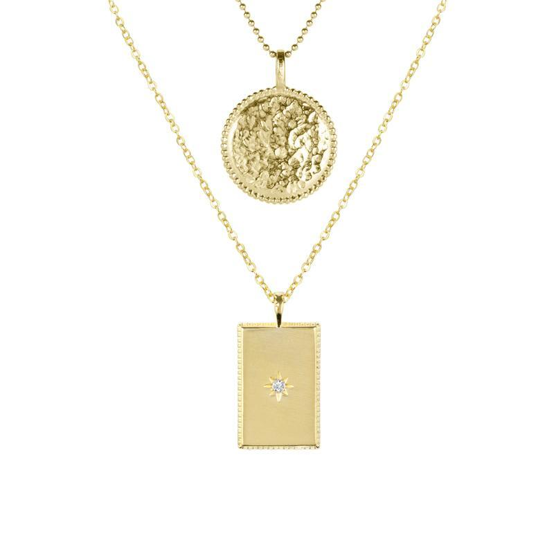 This set includes the Beaded Coin Necklace & Rectangle Necklace. Handmade in California by Katie Dean Jewelry.