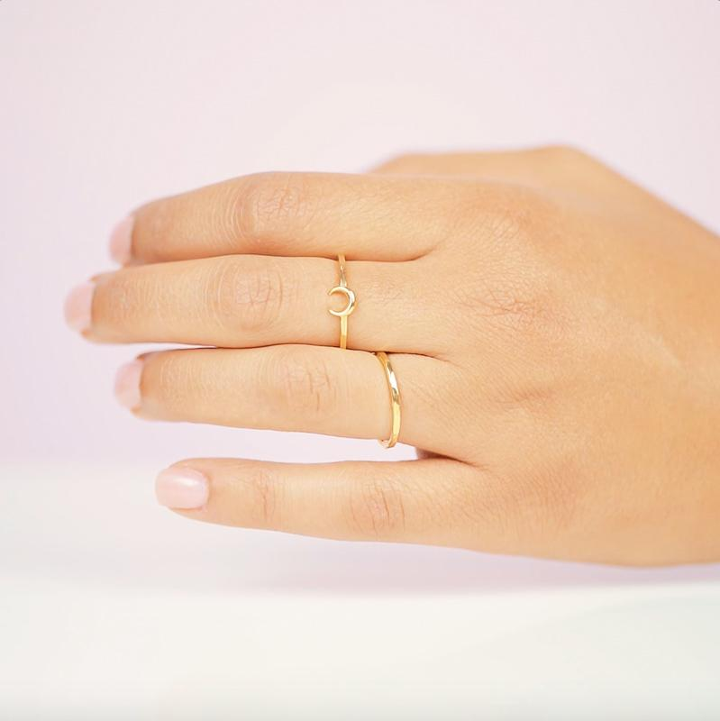 The dainty Moon Ring is worn wonderfully alone or stacked with others and adds the perfect bohemian touch to your look.
