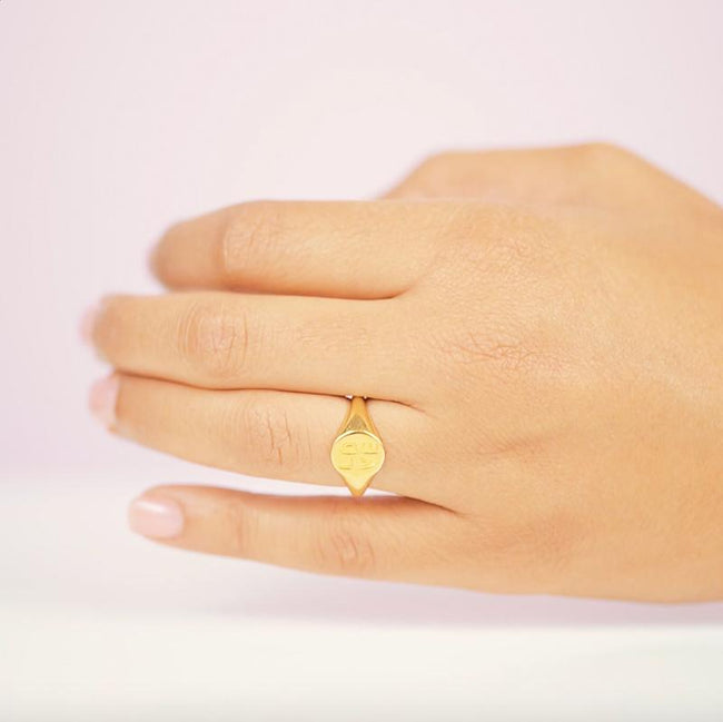 A classic signet ring, perfect for a pinky ring. Handmade in California by Katie Dean Jewelry.