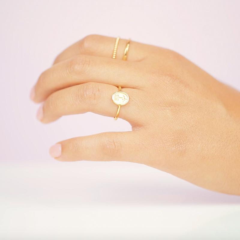 Our dainty, sweet Rose Ring has all the vintage vibes and we're not mad about it.  Handmade in California by Katie Dean Jewelry.