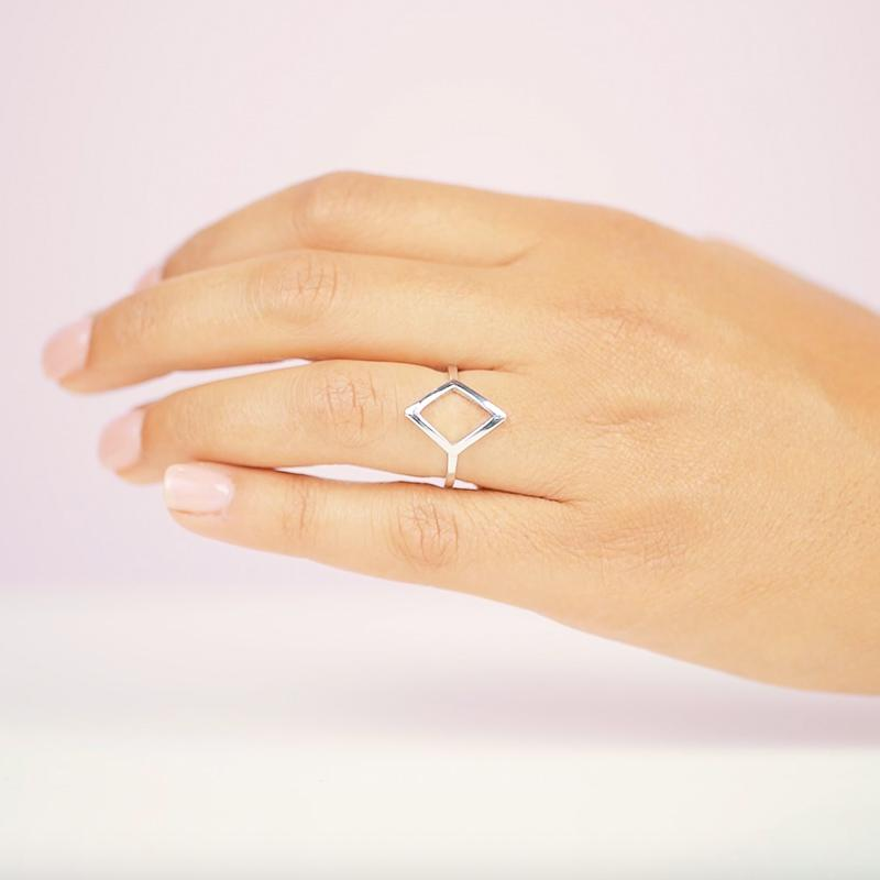 The Big Diamond Ring with rhodium plating. Handmade in California by Katie Dean Jewelry.