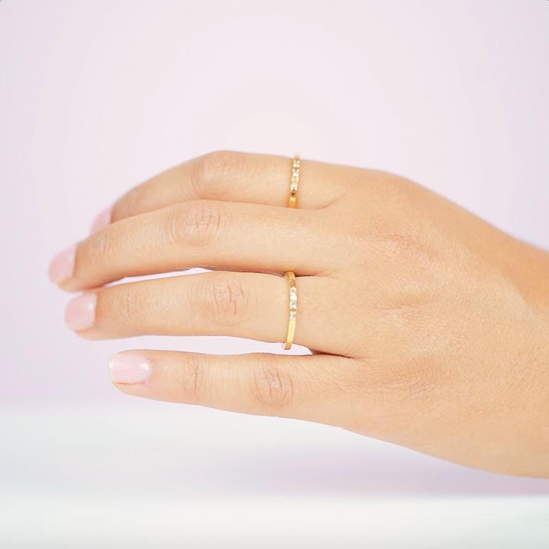 Three is never a crowd with this delicate and sparkly ring. Mix and match this ring to with your other stacking rings to create the perfect stack. Handmade in California by Katie Dean Jewelry.