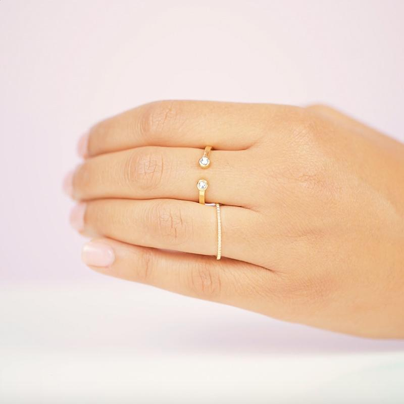 Sparkling simplicity comes to life with the Two Gem Ring. Truly special, this ring works with every outfit and it's adjustable.  Handmade in California by Katie Dean Jewelry.