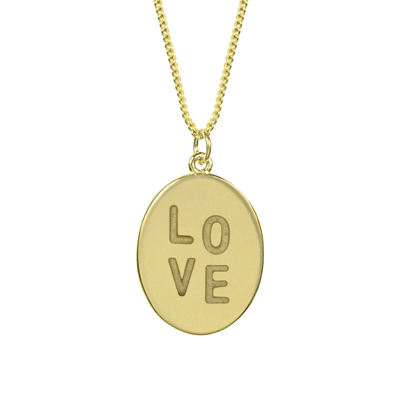 Up close image of the gold Love Charm Necklace with writing.