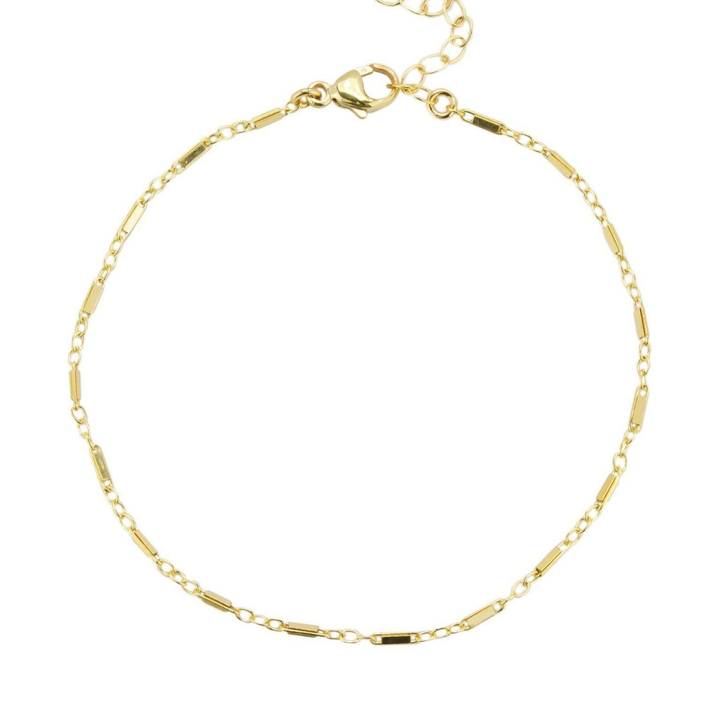 Gold Linked Chain Bracelet against a white background.