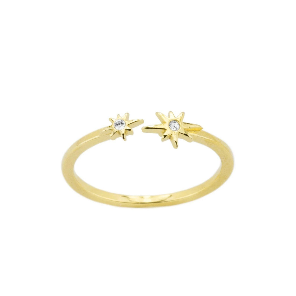 Up close image of the gold Little Dipper Ring with two crystals.