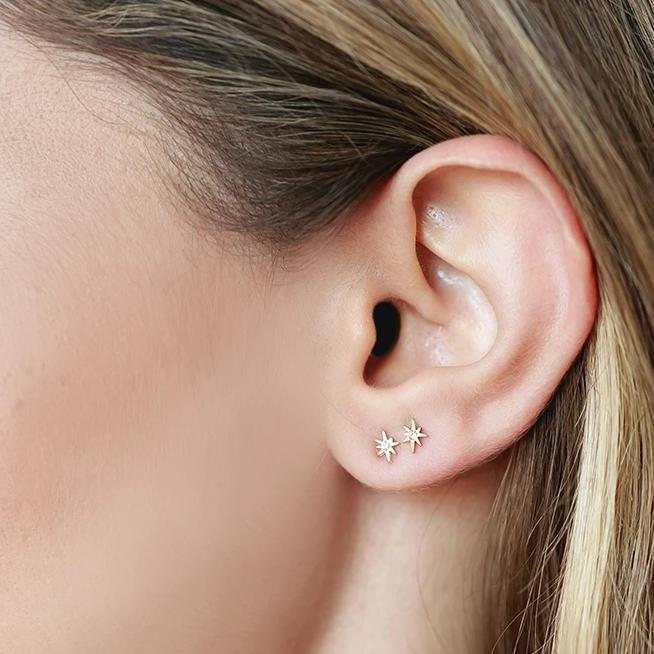 Image of models ear wearing a gold Little Dipper Stud.