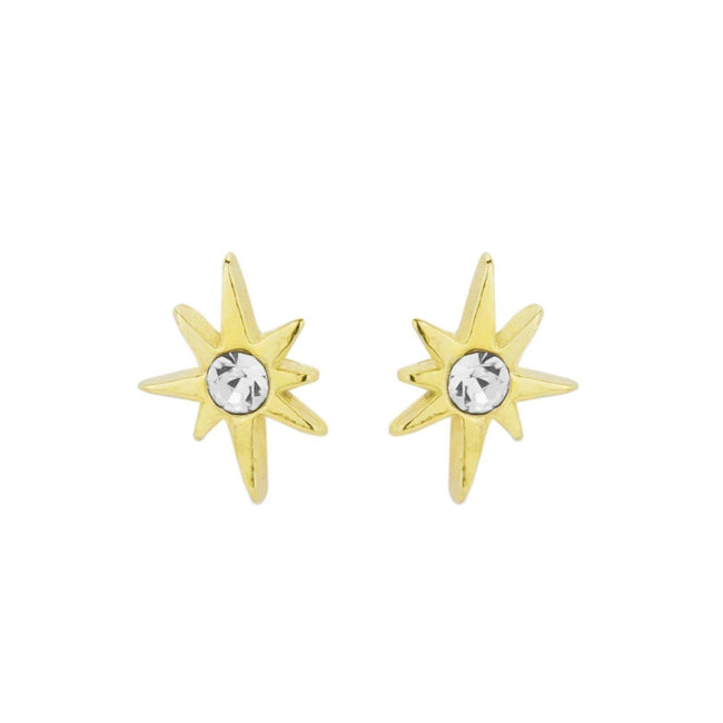 Up close image of the gold Little Dipper Studs with one crystal.