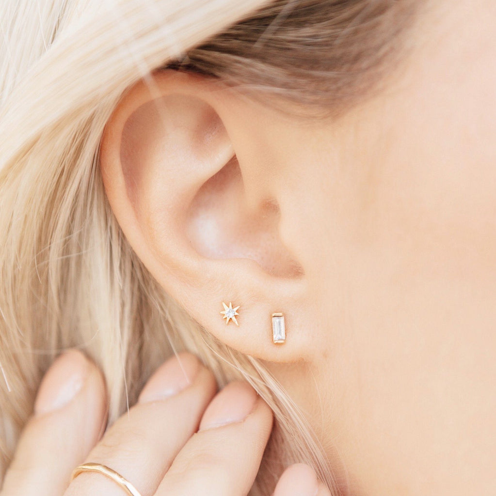 The Baguette Studs, a beautiful, classic pair of earrings that you'll never want to take off. Handmade in California by Katie Dean Jewelry. Nickel free and hypoallergenic.