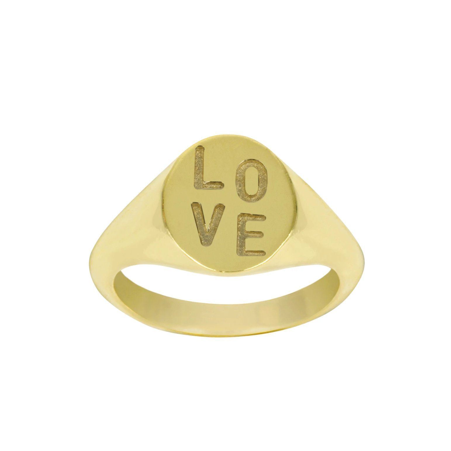 Up close image of the gold Love Signet Ring with writing.