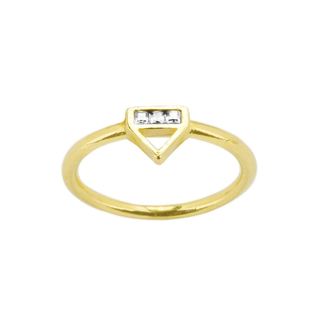 Structured and sparkly all while staying true to a minimal style. The Love Triangle Ring is a great addition to your ring party. Handmade in California by Katie Dean Jewelry.