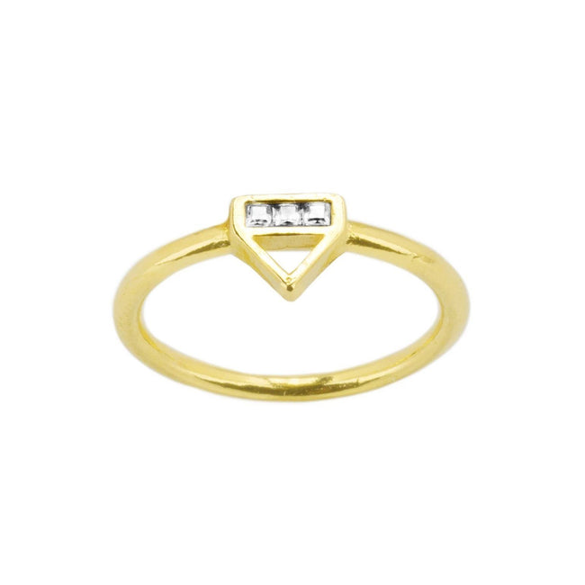 Up close image of the gold Love Triangle Ring with three crystals.