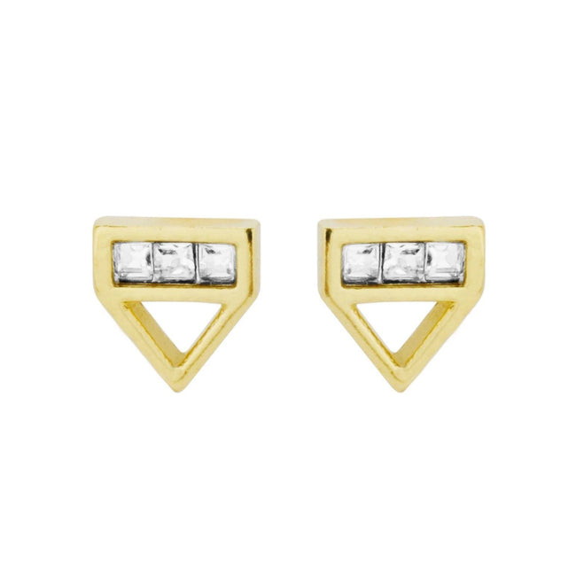 Up close image of the gold Love Triangle Studs with three crystals.