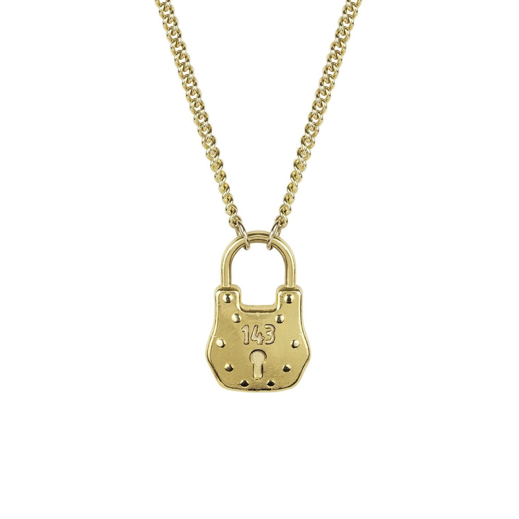 Up close image of the gold Love Lock Necklace pendant in the shape of a lock.