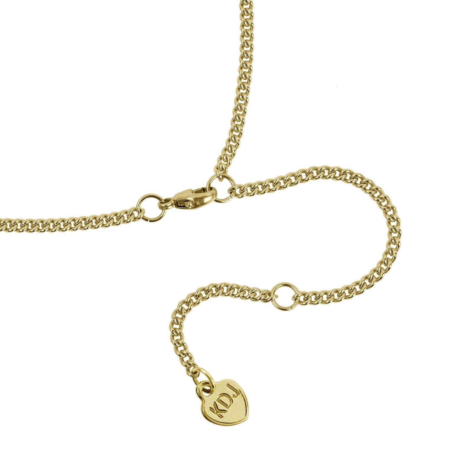 Up close image of the gold Love Lock Necklace clasp with initials KDJ.