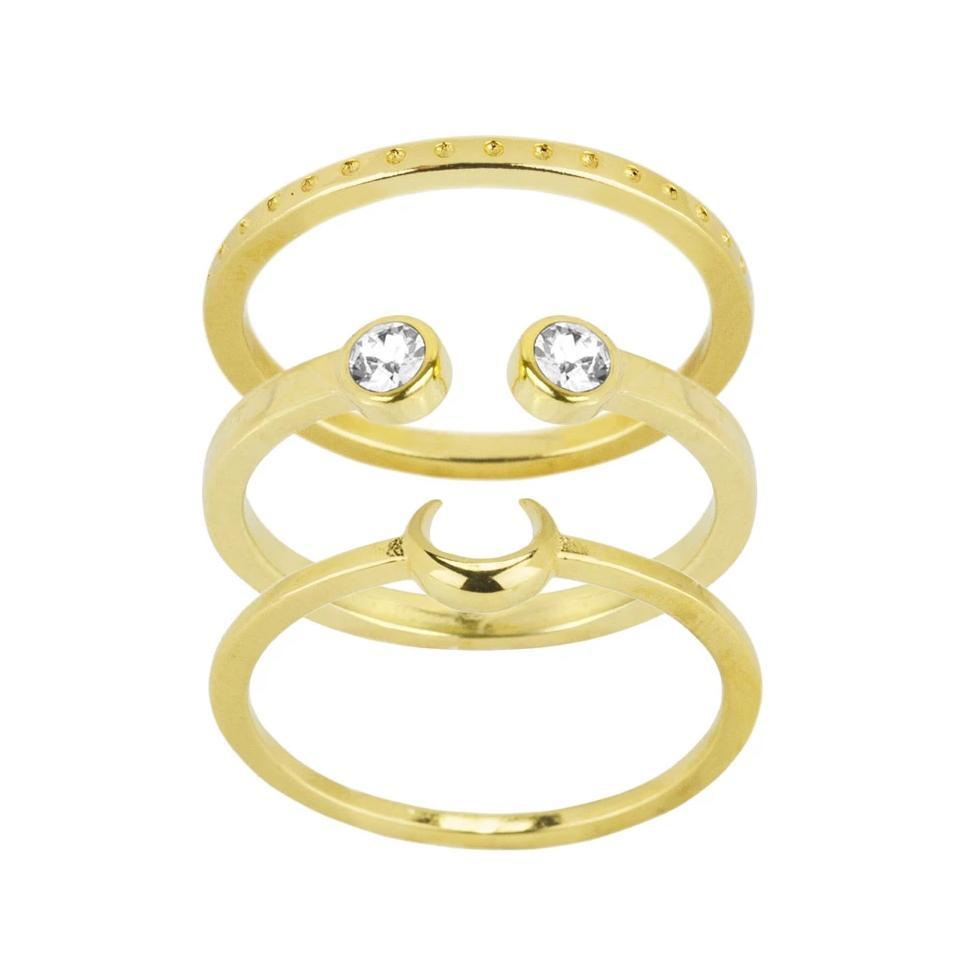 The gold Moon Stack with the Dotted Ring on top, the Two Gem Ring in the middle & the Moon Ring on the bottom.