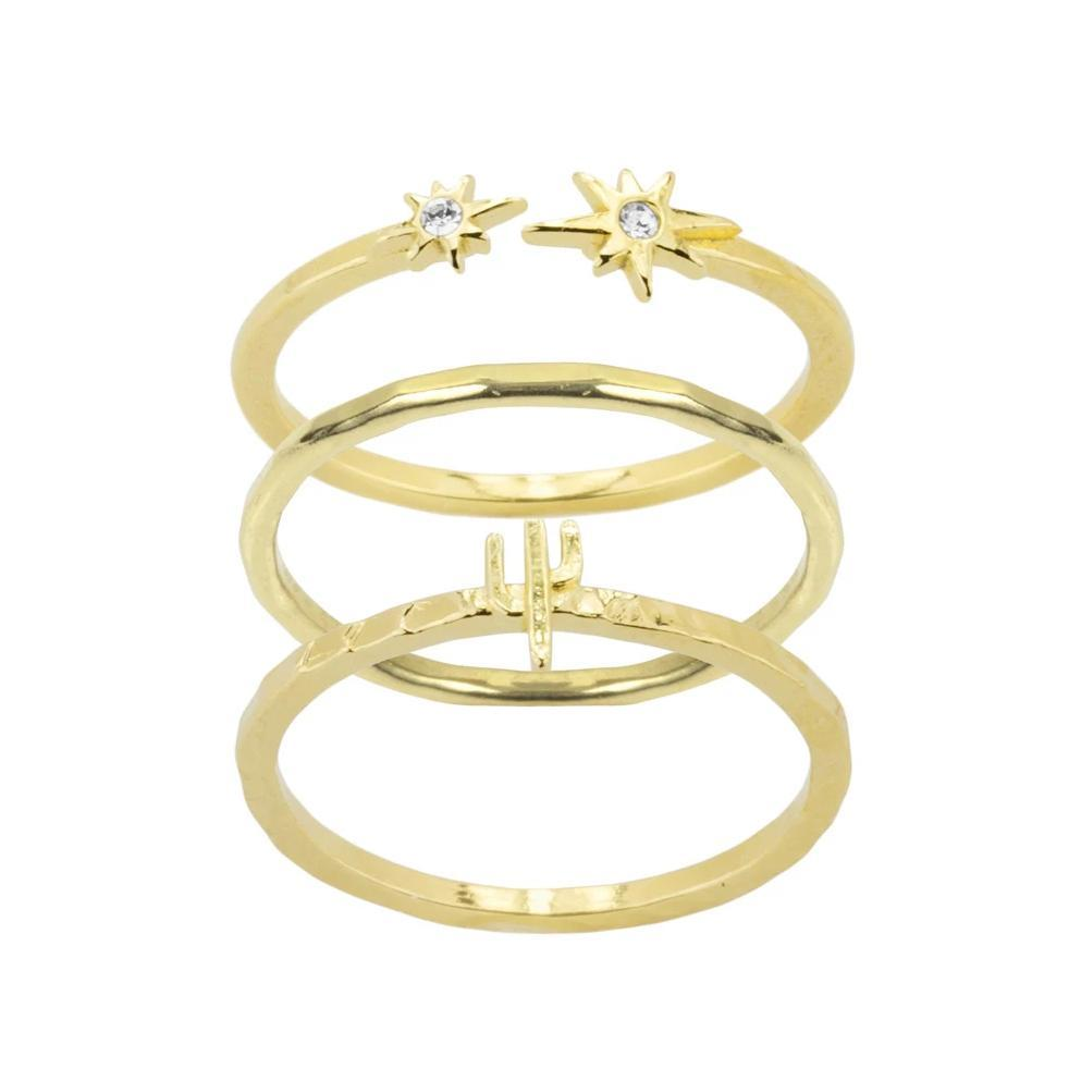 Just imagine stargazing under the perfect desert sky when you wear the Desert Ring Stack. Handmade in California by Katie Dean Jewelry. Included in this stack: the Little Dipper Star Ring, Hammered Band Ring and the Cactus Ring.