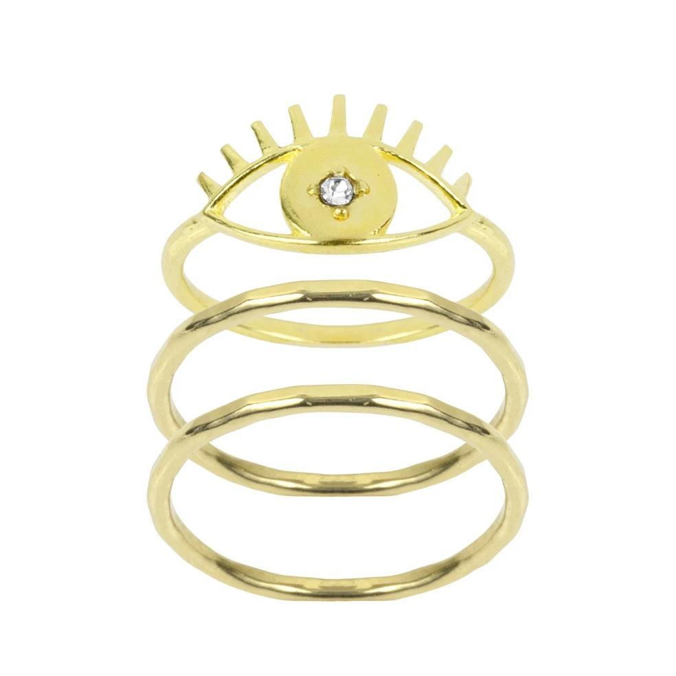 Good vibes. Lucky charm. Protector of evil spirits. No matter which way you put it, the Evil Eye Ring Stack is a good omen and carries only well wishes along with it.