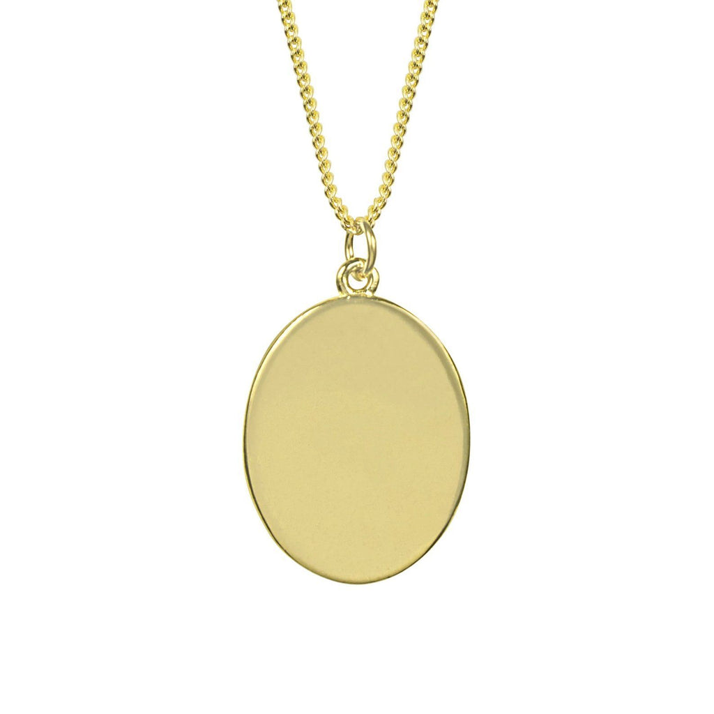Up close image of the gold Oval Charm Necklace pendant in the shape of an oval.