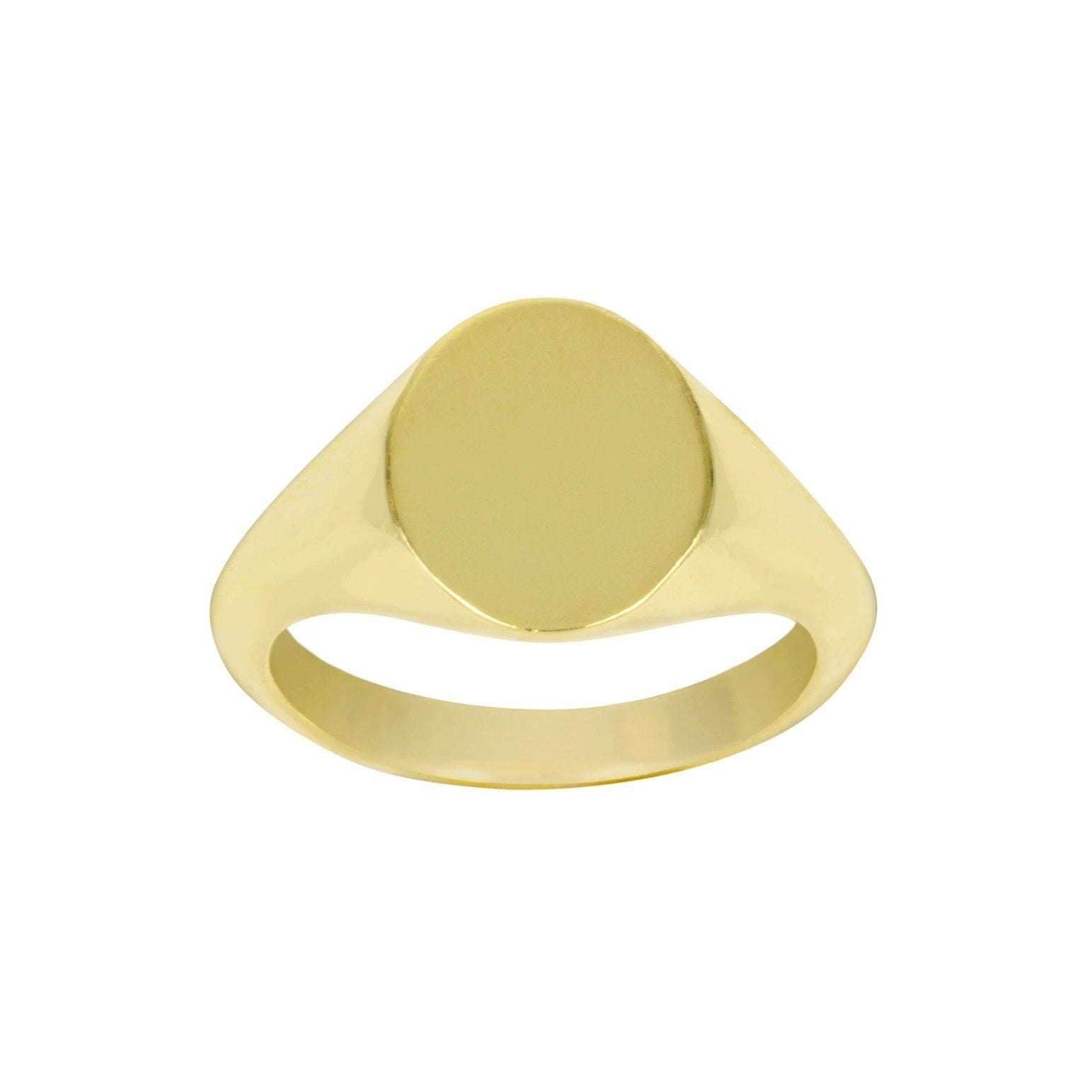 Up close image of the gold Oval Signet Ring against a white background.
