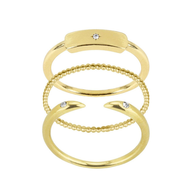 Rectangle Ring Stack by Katie Dean Jewelry, three rings in one set