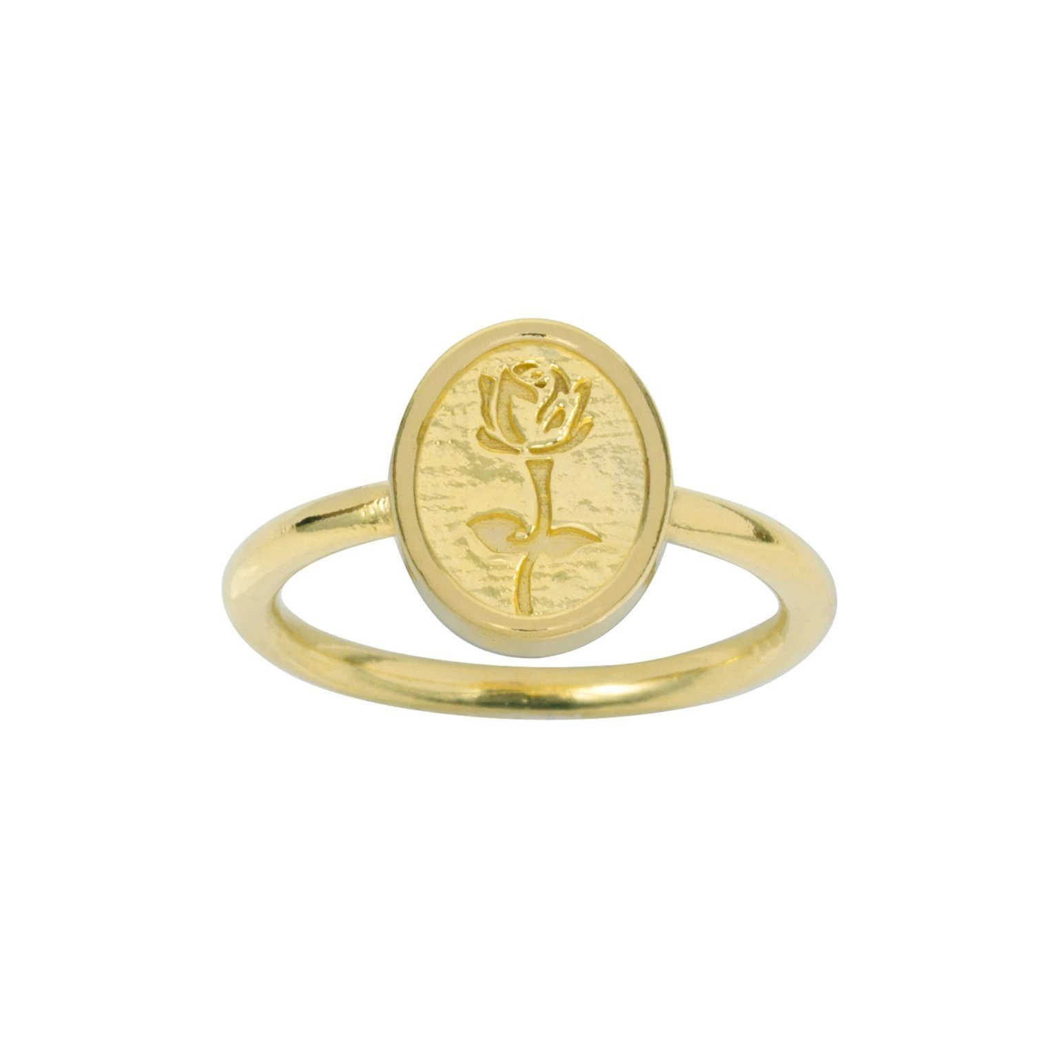 Up close image of the gold Rose Ring with a rose on it.