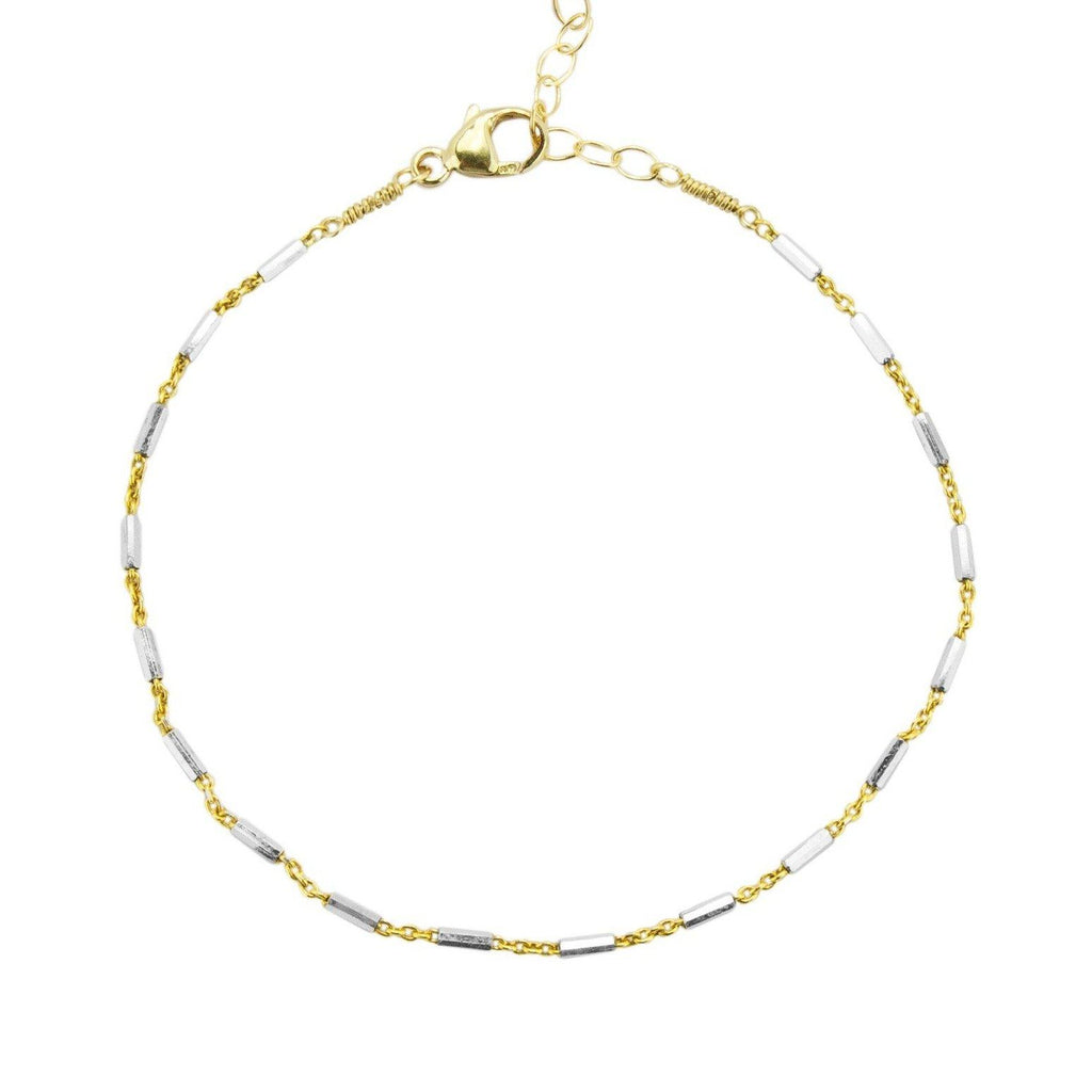 Silver and Gold link chain bracelet handmade by Katie Dean Jewelry shown on a white background.