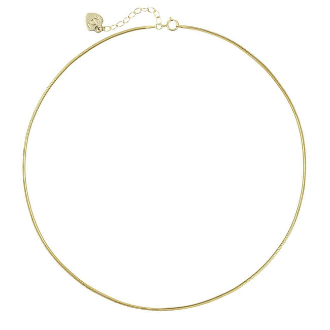 Gold Snake Chain Necklace by Katie Dean Jewelry shown on a white background.