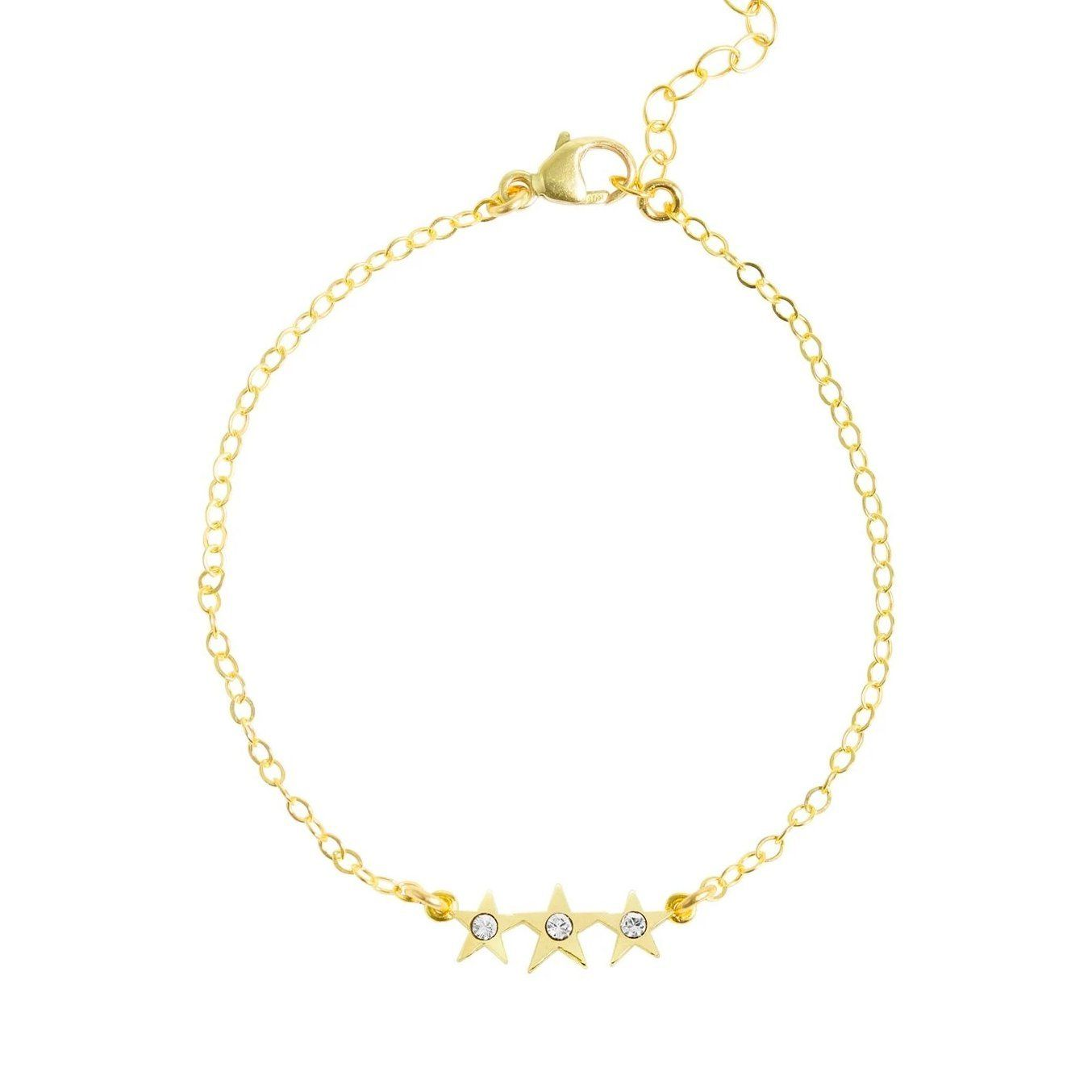 Up close image of the gold Starburst Bracelet with tiny crystals & stars.
