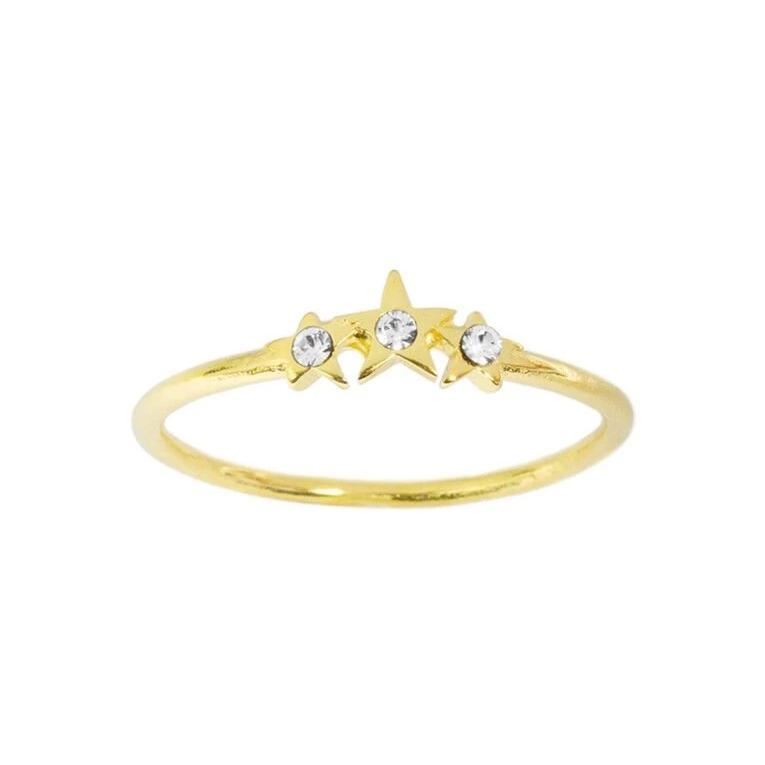Up close image of the gold Starburst Ring with tiny crystals & three stars.