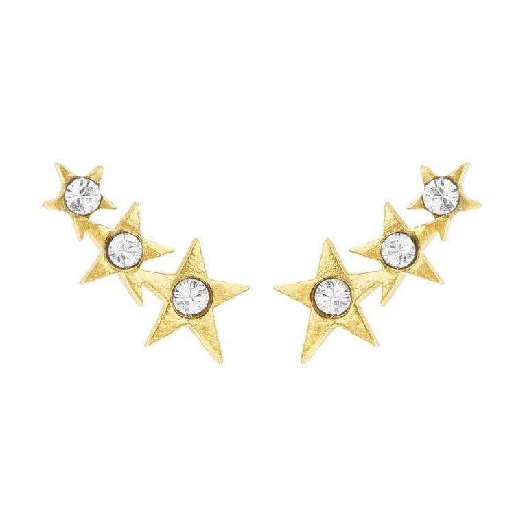 Up close image of the gold Starburst Ear Crawlers with tiny crystals and three stars.