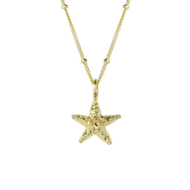 A touch of magic and a splash of tropical, take the beach with you wherever you go when wearing the Starfish Necklace. Handmade in California by Katie Dean Jewelry.