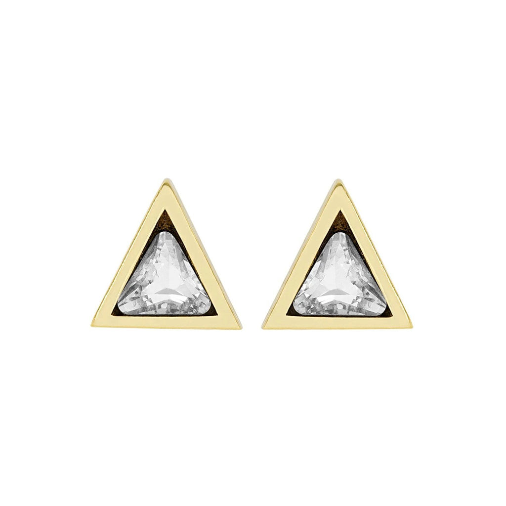 Up close image of the gold Triangle Studs with white crystals in them.