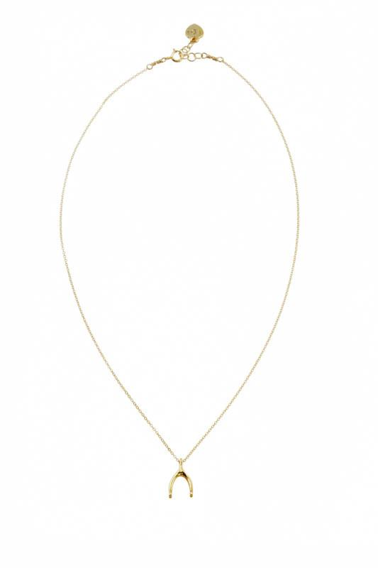 Image of the gold Wishbone Necklace against a white background.