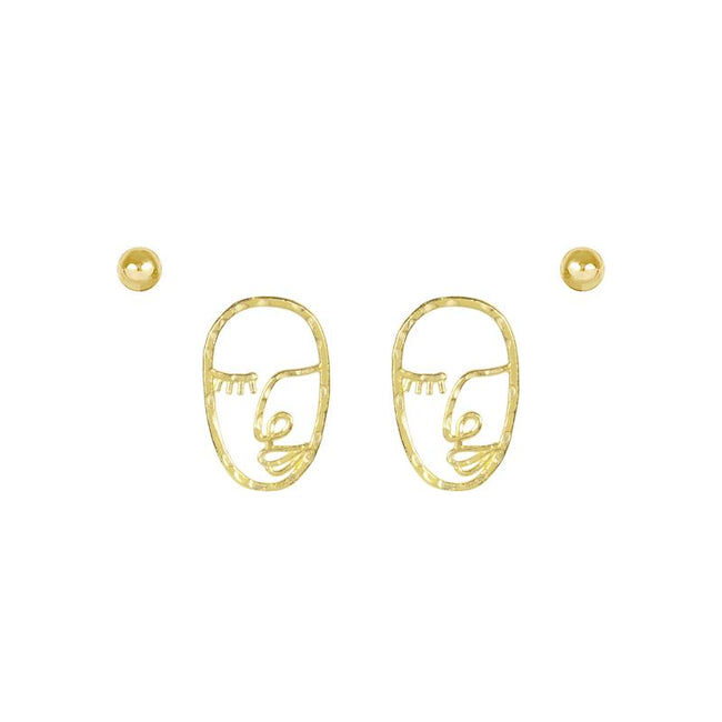 Picture of the Beaded gold stud earring and the Artist Face Earring inspired by Matisse and Picasso. Handmade in California by Katie Dean Jewelry. Nickel free and hypoallergenic.