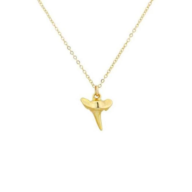 Up close image of gold Bite Me Necklace sharks tooth pendant against a white background.