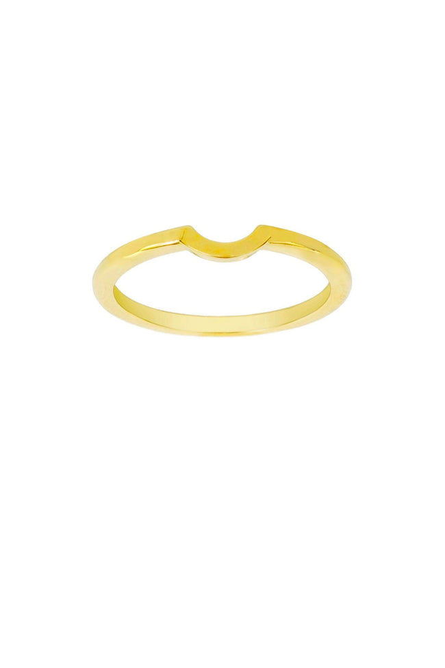 Up close image of the gold Half Sphere Ring against a white background.