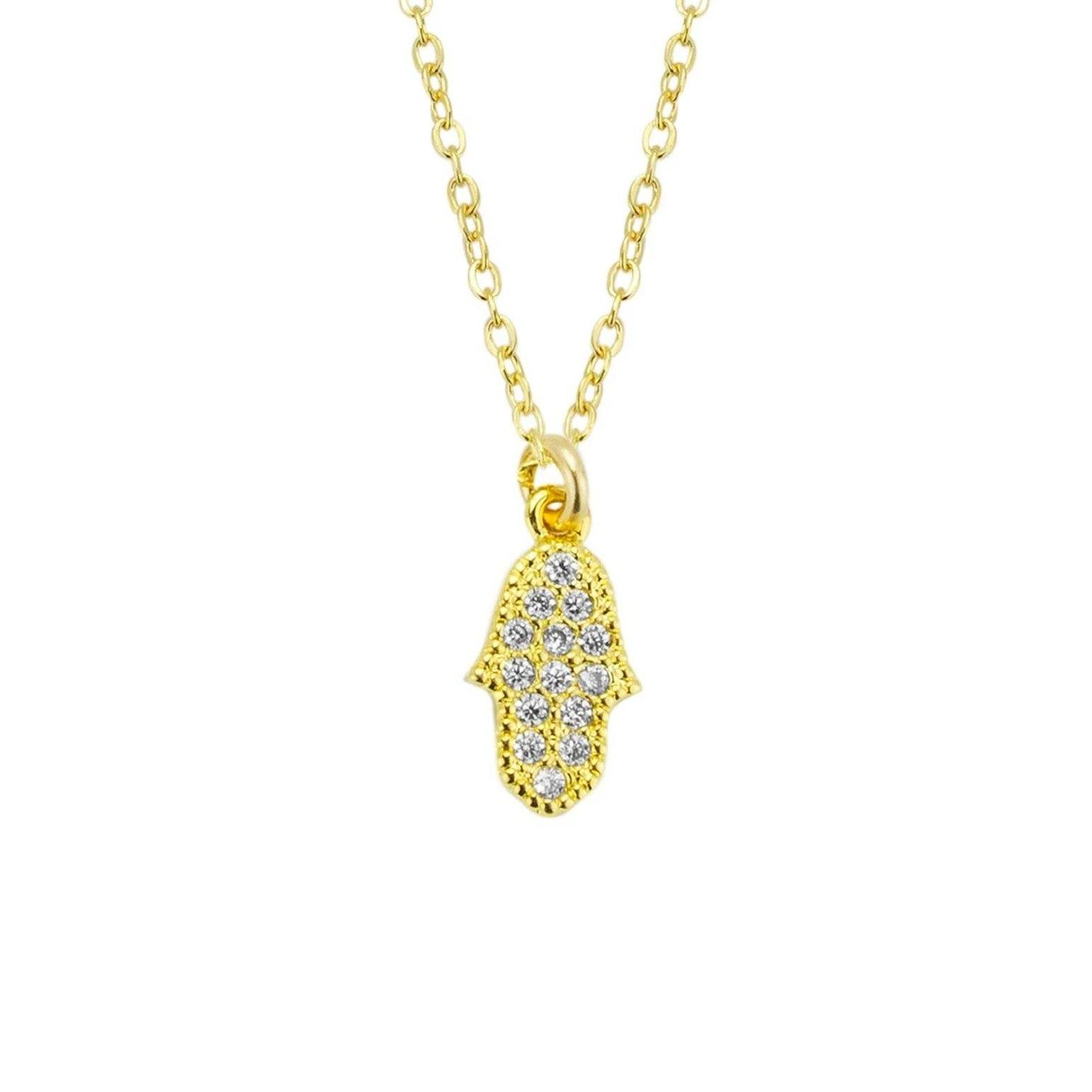 Up close image of the Hamsa Hand Necklace pendant with tiny crystals.