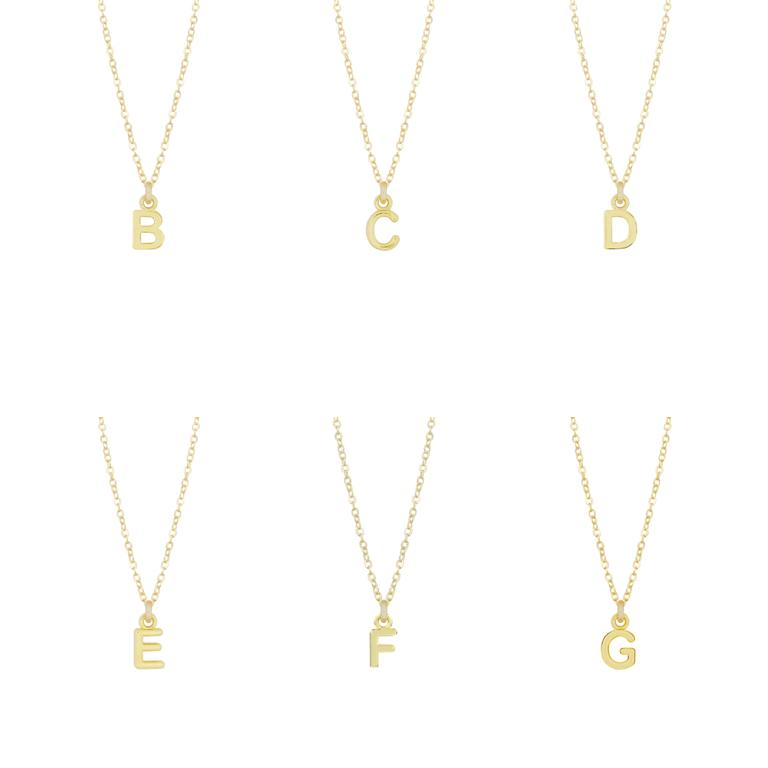 "Dainty gold Initial Necklaces ""B, C, D, E, F, G""  shown on a white background, made by Katie Dean Jewelry."