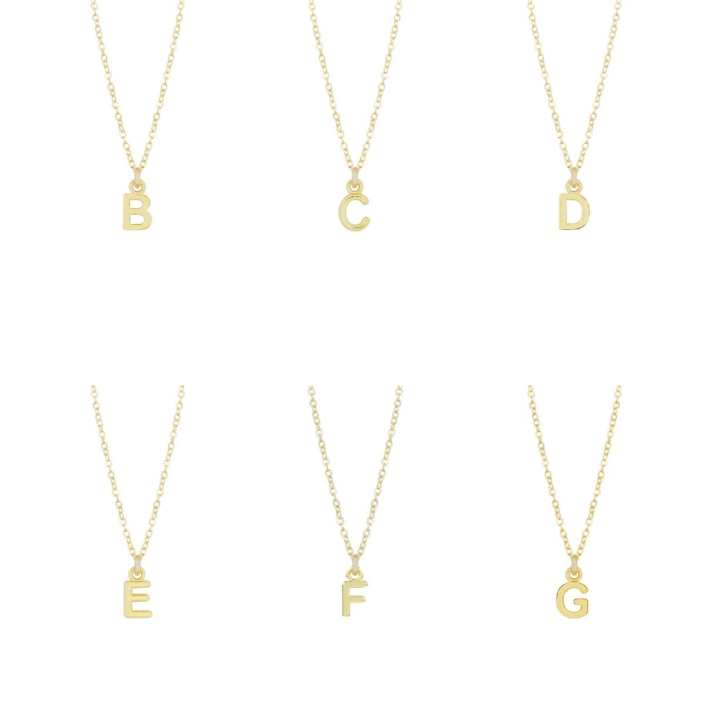Dainty gold Initial Necklaces as shown on a white background, initials B C D E F G