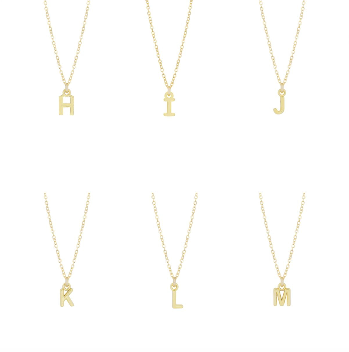 "Dainty gold Initial Necklaces ""H, I, J, K, L, M""  shown on a white background, made by Katie Dean Jewelry."